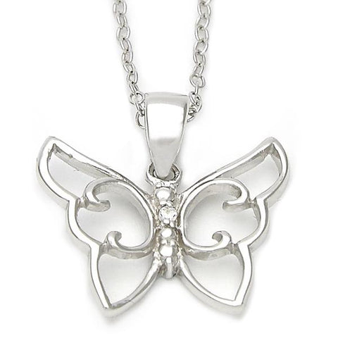 Sterling Silver 10.174.0137.18 Fancy Necklace, Butterfly Design, Polished Finish, Silver Tone