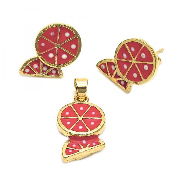 Gold Layered 10.38.0060 Earring and Pendant Children Set, Watermelon Design, Enamel Finish, Golden Tone