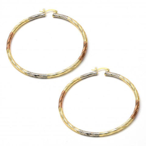 Gold Plated 02.70.0023.65 Extra Large Hoop, Diamond Cutting Finish, Tri Tone