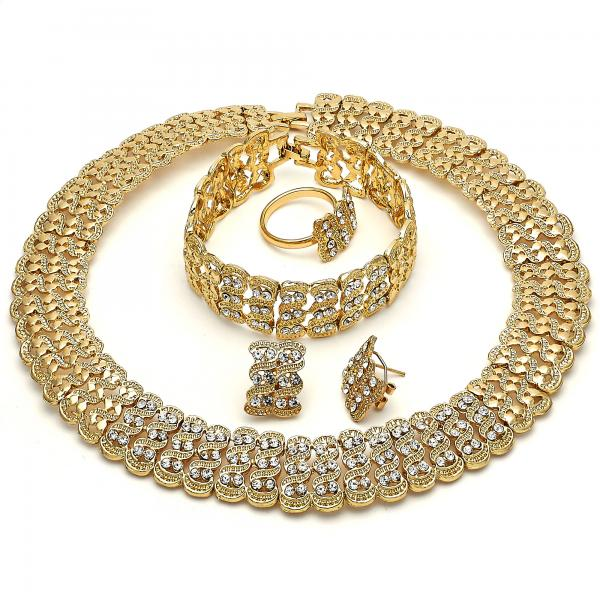 Gold Layered 06.288.0024 Necklace, Bracelet, Earring and Ring, with White Crystal, Polished Finish, Golden Tone