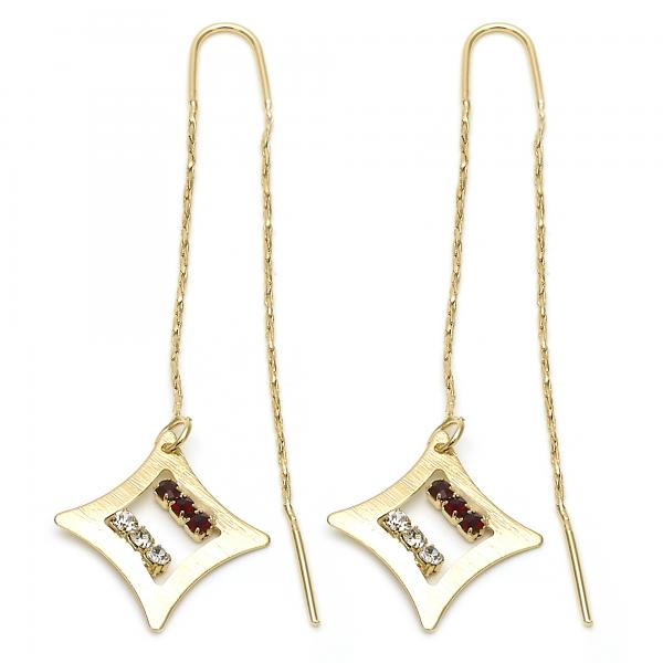 Gold Layered 02.02.0455 Threader Earring, with Garnet and White Crystal, Polished Finish, Golden Tone