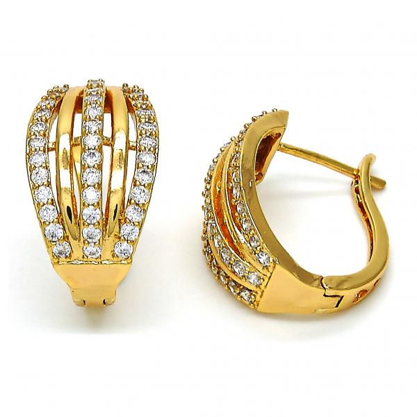 Gold Layered 02.260.0009.20 Huggie Hoop, with White Cubic Zirconia, Polished Finish, Golden Tone