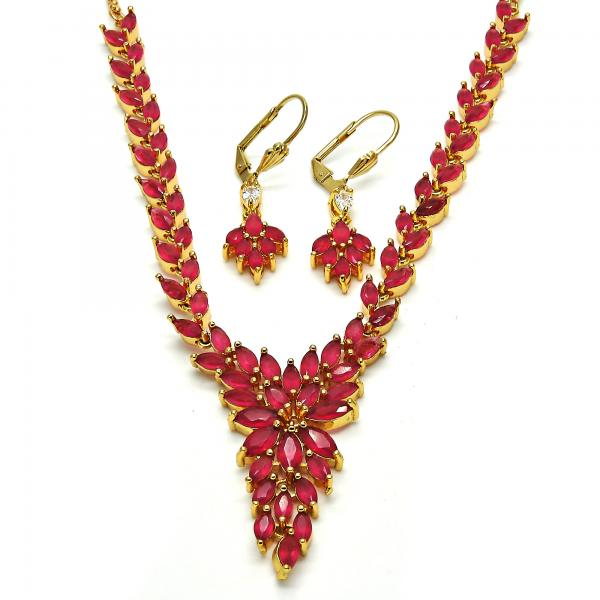 Gold Layered Necklace and Earring, Leaf Design, with Cubic Zirconia, Golden Tone