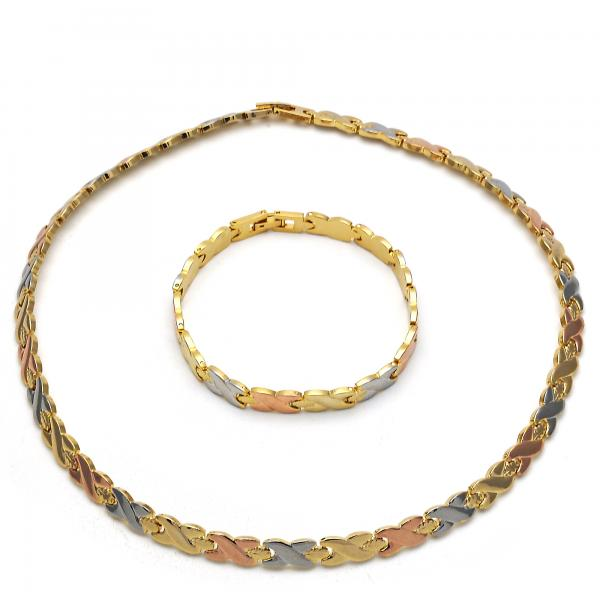 Gold Layered 06.102.0002 Necklace and Bracelet, Hugs and Kisses Design, Polished Finish, Tri Tone