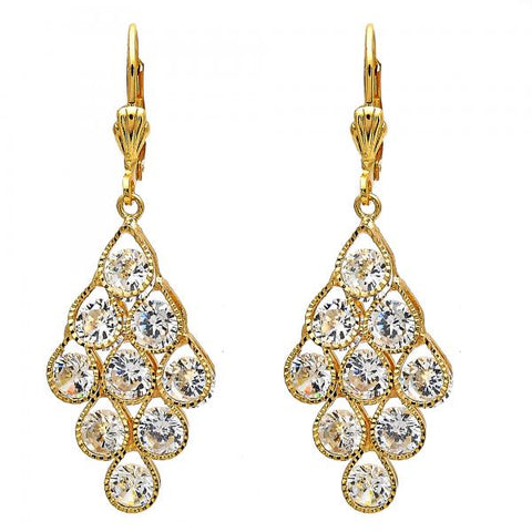 Gold Layered Chandelier Earring, Teardrop Design, with Cubic Zirconia, Golden Tone