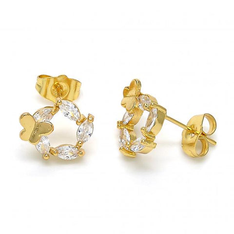 Gold Layered 02.323.0003 Stud Earring, Butterfly Design, with White Cubic Zirconia, Polished Finish, Golden Tone