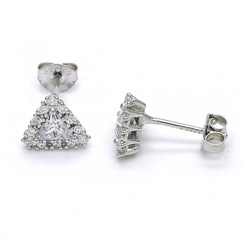 Sterling Silver 02.285.0050 Stud Earring, with White Cubic Zirconia, Polished Finish,