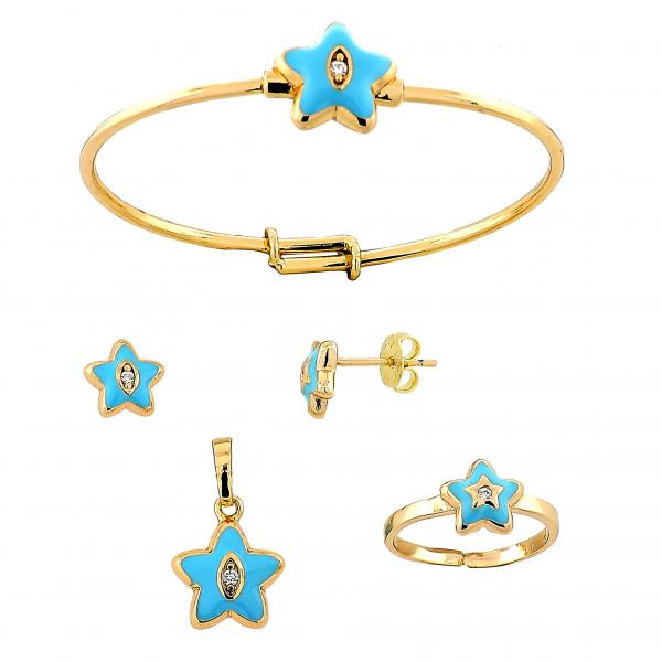Gold Layered 06.26.0007.1 Earring and Pendant Children Set, Star Design, with  Crystal, Golden Tone
