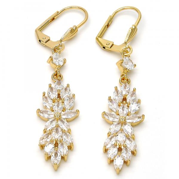 Gold Layered Long Earring, Flower and Leaf Design, with Cubic Zirconia, Golden Tone