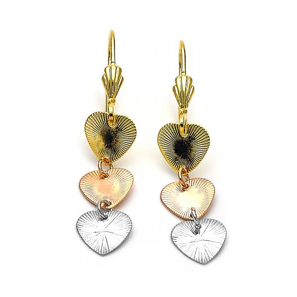 Gold Layered 02.63.2178 Long Earring, Heart Design, Diamond Cutting Finish, Tri Tone