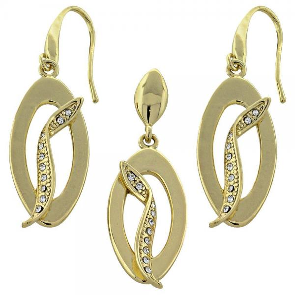 Gold Layered 10.59.0121 Earring and Pendant Adult Set, with White Crystal, Polished Finish, Golden Tone