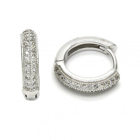 Sterling Silver 02.175.0069.15 Huggie Hoop, with White Micro Pave, Polished Finish, Rhodium Tone