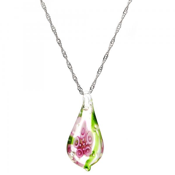 Gold Tone 04.276.0020.18.GT Pendant Necklace, Flower Design, with Pink Azavache, Polished Finish, Rhodium Tone