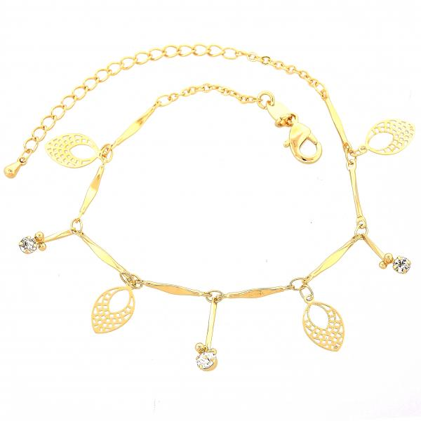 Gold Layered 03.63.1275.07 Charm Bracelet, Leaf Design, with White Cubic Zirconia, Diamond Cutting Finish, Golden Tone