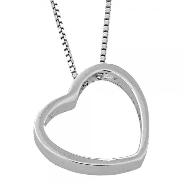 Sterling Silver 04.183.0010.16 Fancy Necklace, Heart Design, Rhodium Tone