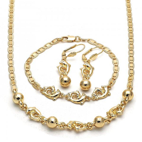 Gold Layered 06.63.0221 Necklace, Bracelet and Earring, Dolphin Design, Polished Finish, Golden Tone