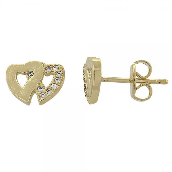 Gold Layered 02.156.0027 Stud Earring, Heart Design, with White Micro Pave, Polished Finish, Golden Tone