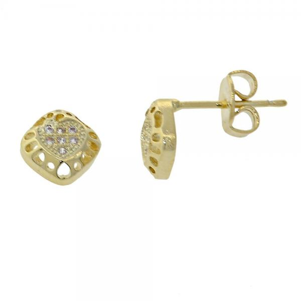 Gold Layered 02.156.0003 Stud Earring, Heart Design, with White Micro Pave, Polished Finish, Golden Tone