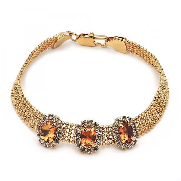Gold Layered 5.021.007.3 Fancy Bracelet, with Dark Champagne and White Cubic Zirconia, Polished Finish, Golden Tone