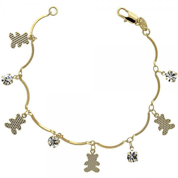 Gold Layered 5.030.011.07 Charm Bracelet, Teddy Bear Design, with White Cubic Zirconia, Diamond Cutting Finish, Golden Tone