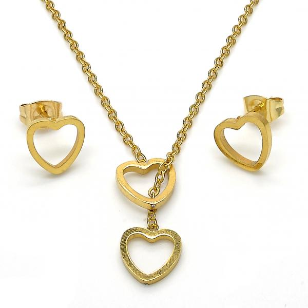 Stainless Steel 06.320.0003 Earring and Pendant Adult Set, Heart Design, Polished Finish, Golden Tone