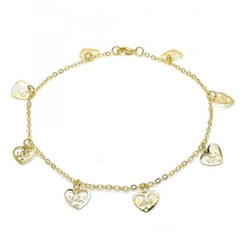 Gold Layered 03.63.1850.10 Charm Anklet , Heart and Love Design, Polished Finish, Golden Tone