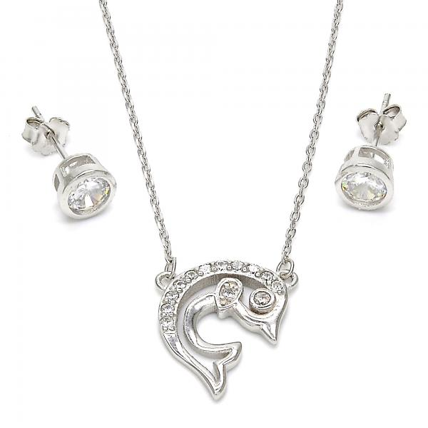 Sterling Silver 10.186.0012 Earring and Pendant Adult Set, Dolphin Design, with White Cubic Zirconia, Polished Finish, Rhodium Tone