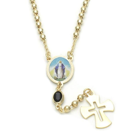 Gold Layered 09.02.0032.18 Thin Rosary, Medalla Milagrosa and Cross Design, with Black Azavache, Polished Finish, Golden Tone