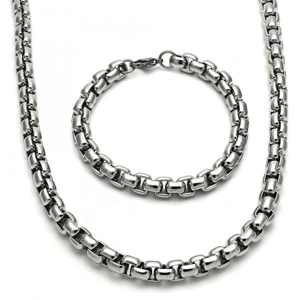 Stainless Steel 06.289.0009 Necklace and Bracelet, Box Design, Polished Finish, Steel Tone