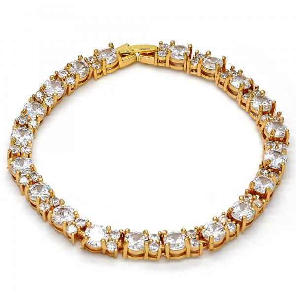 Gold Layered 03.221.0028.08 Tennis Bracelet, with White Cubic Zirconia, Polished Finish, Golden Tone