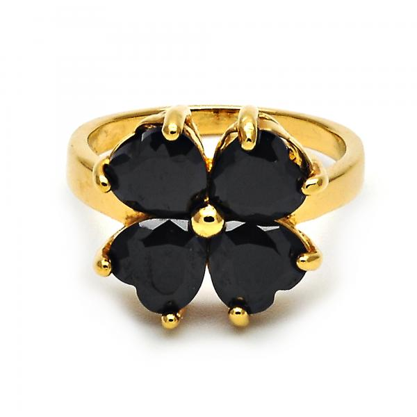 Gold Layered Multi Stone Ring, Four-leaf Clover and Heart Design, with Cubic Zirconia, Golden Tone