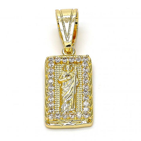 Gold Layered 05.120.0067 Religious Pendant, San Judas Design, with White Cubic Zirconia, Polished Finish, Golden Tone