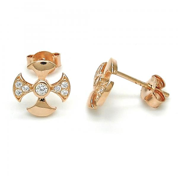 Sterling Silver 02.285.0047 Stud Earring, with White Cubic Zirconia, Polished Finish, Rose Gold Tone