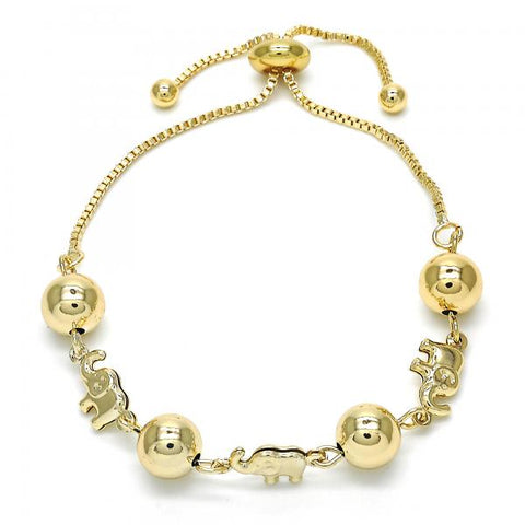 Gold Layered 03.63.1832.10 Fancy Bracelet, Elephant and Ball Design, Polished Finish, Golden Tone