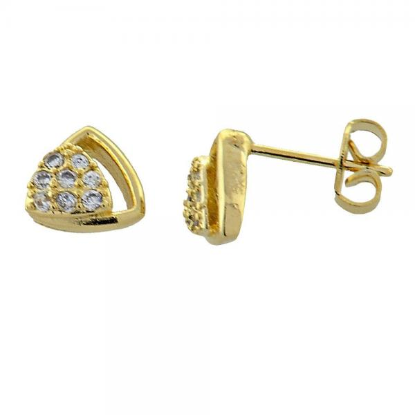 Gold Layered 02.168.0015 Stud Earring, with White Micro Pave, Polished Finish, Golden Tone