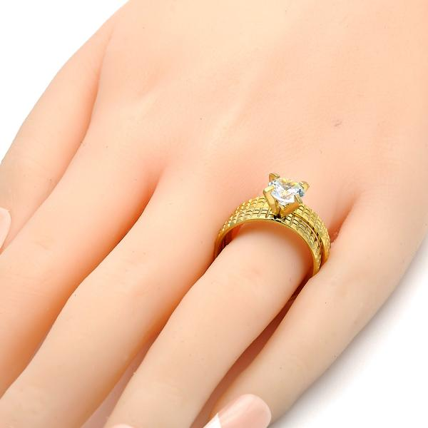 Stainless Steel Wedding Ring, with Cubic Zirconia, Golden Tone