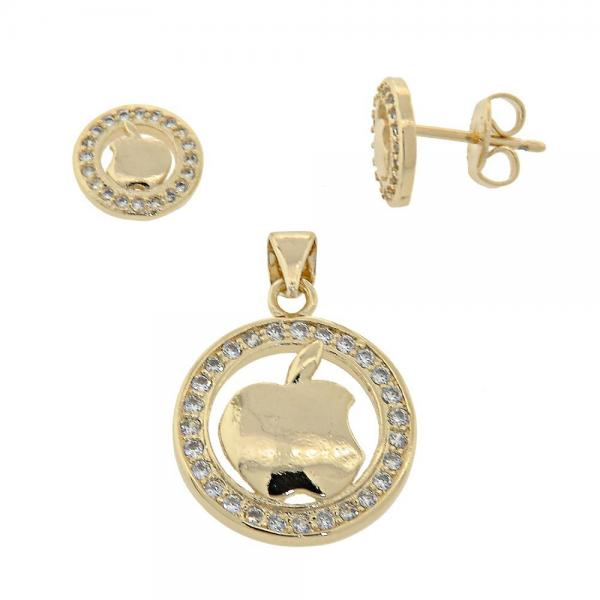 Gold Layered 10.156.0031 Earring and Pendant Adult Set, Apple Design, with  Micro Pave, Golden Tone