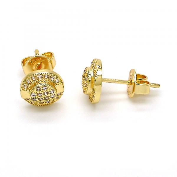 Gold Layered 02.156.0011 Stud Earring, with White Micro Pave, Polished Finish, Golden Tone