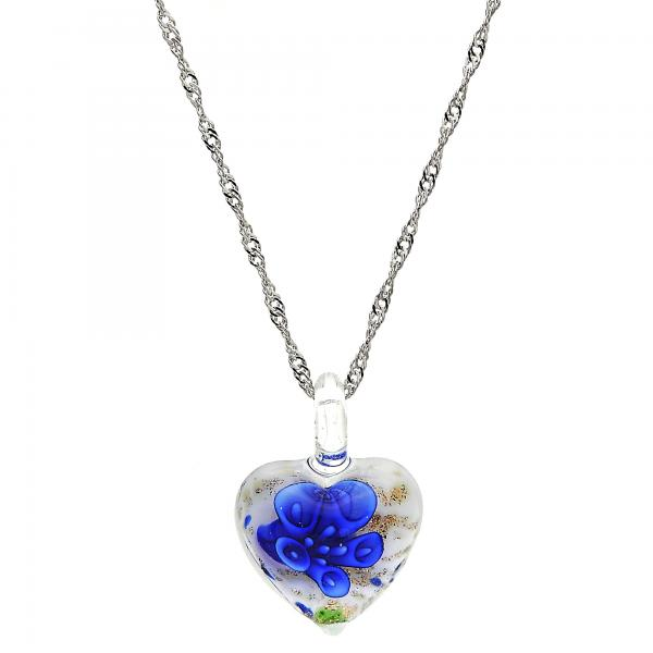 Gold Tone 04.276.0016.18.GT Fancy Necklace, Heart and Flower Design, with Sapphire Blue Azavache, Polished Finish, Rhodium Tone