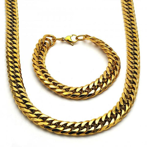 Stainless Steel Necklace and Bracelet, Golden Tone