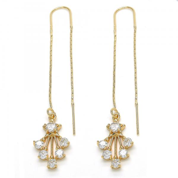 Gold Layered Threader Earring, Star Design, with Cubic Zirconia, Golden Tone