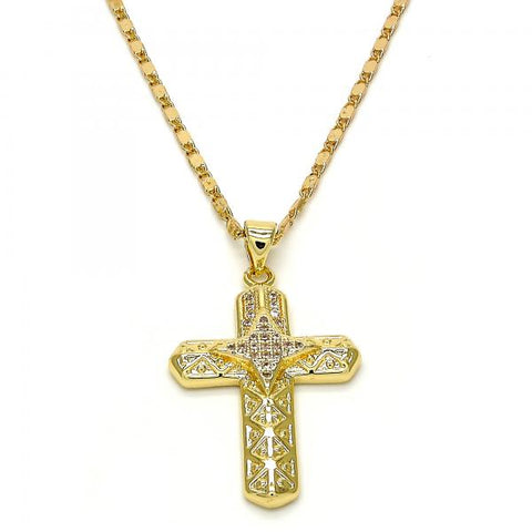 Gold Layered 04.165.0005.20 Fancy Necklace, Cross Design, with White Micro Pave, Polished Finish, Golden Tone