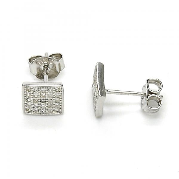 Sterling Silver 02.186.0033 Stud Earring, with White Micro Pave, Polished Finish, Rhodium Tone