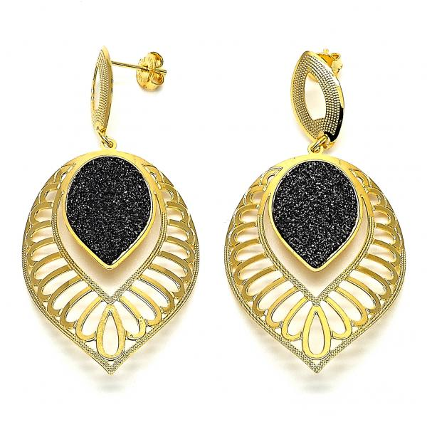 Gold Layered 02.09.0058 Dangle Earring, Black Matte Finish, Two Tone