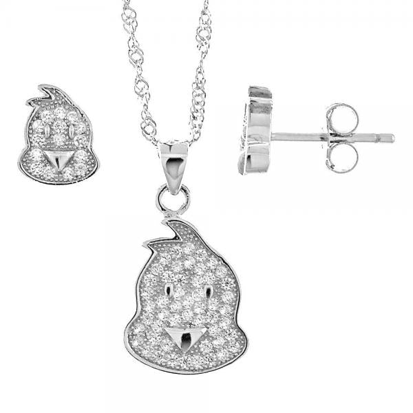 Sterling Silver 10.174.0046 Necklace and Earring, with White Micro Pave, Polished Finish, Rhodium Tone
