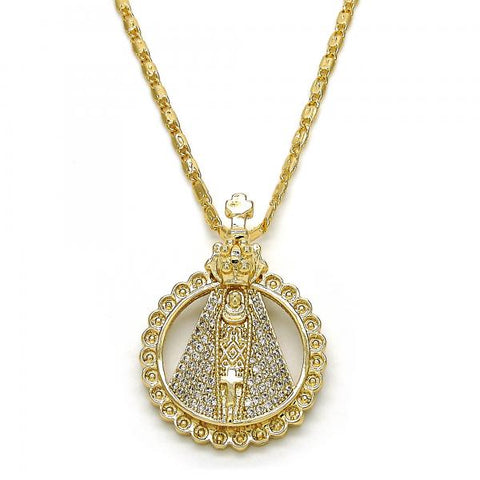 Gold Layered 04.156.0130.20 Fancy Necklace, Caridad del Cobre Design, with White Micro Pave, Polished Finish, Golden Tone
