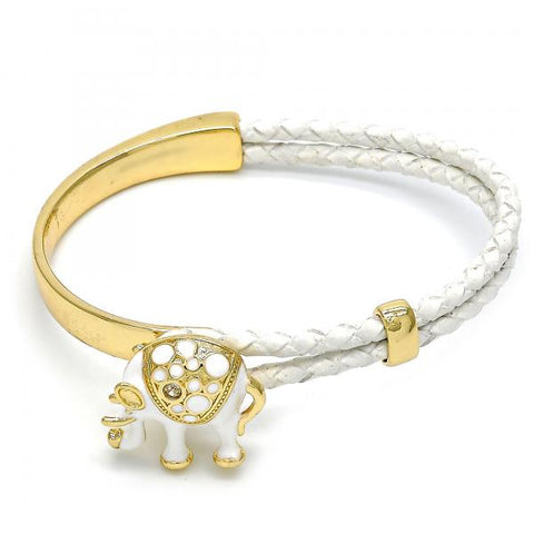 Gold Layered Individual Bangle, Elephant Design, with Crystal, Golden Tone