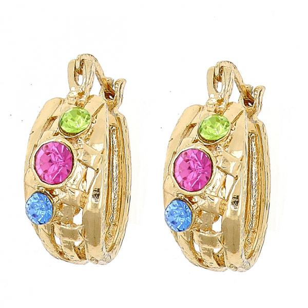 Gold Layered 02.150.0008 Small Hoop, with Multicolor Crystal, Polished Finish, Golden Tone