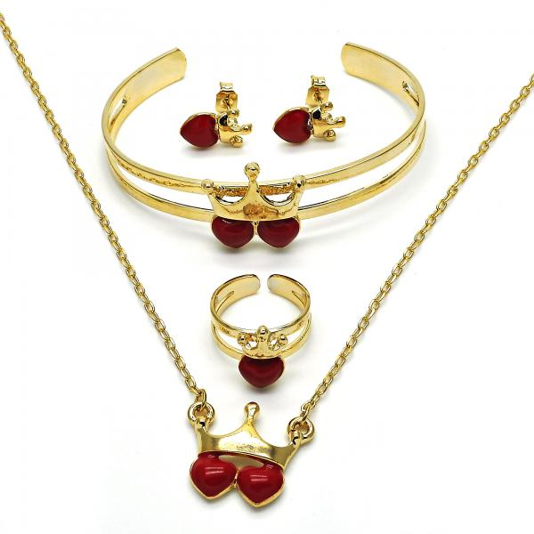 Gold Layered 06.65.0120.1 Earring and Pendant Children Set, Heart and Crown Design, Red Enamel Finish, Golden Tone