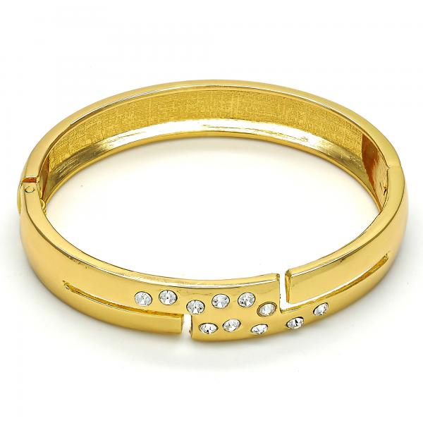 Gold Tone 07.252.0028.05.GT Individual Bangle, with White Crystal, Polished Finish, Golden Tone (13 MM Thickness, Size 5 - 2.50 Diameter)